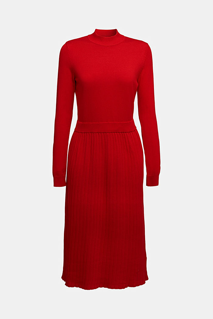 Knitted dress with organic cotton, RED, detail image number 5