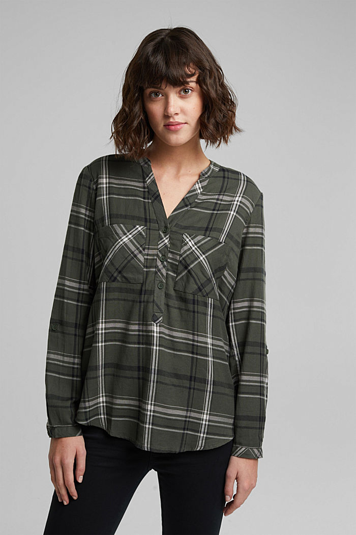 Check blouse made of 100% organic cotton, LIGHT KHAKI, detail image number 0