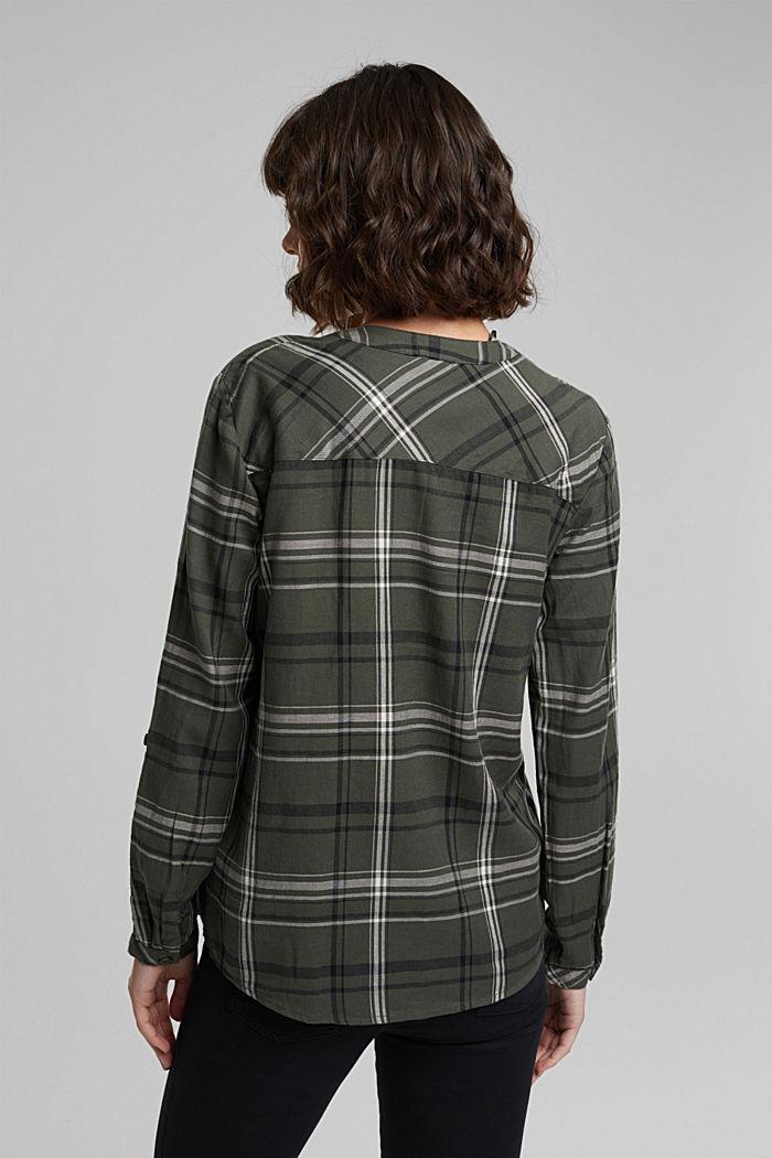 Check blouse made of 100% organic cotton, LIGHT KHAKI, detail image number 3