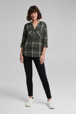 Check blouse made of 100% organic cotton, LIGHT KHAKI, detail