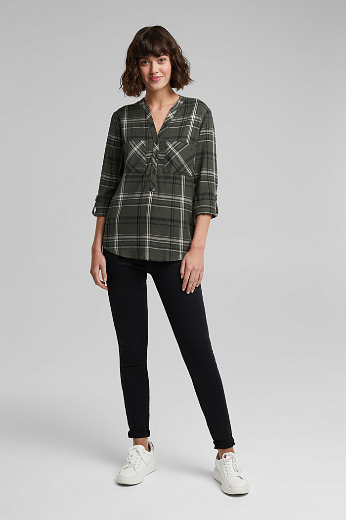 Check blouse made of 100% organic cotton, LIGHT KHAKI, detail image number 1