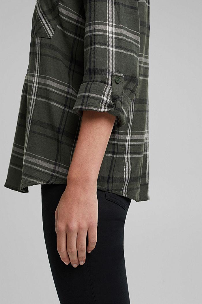 Check blouse made of 100% organic cotton, LIGHT KHAKI, detail image number 5