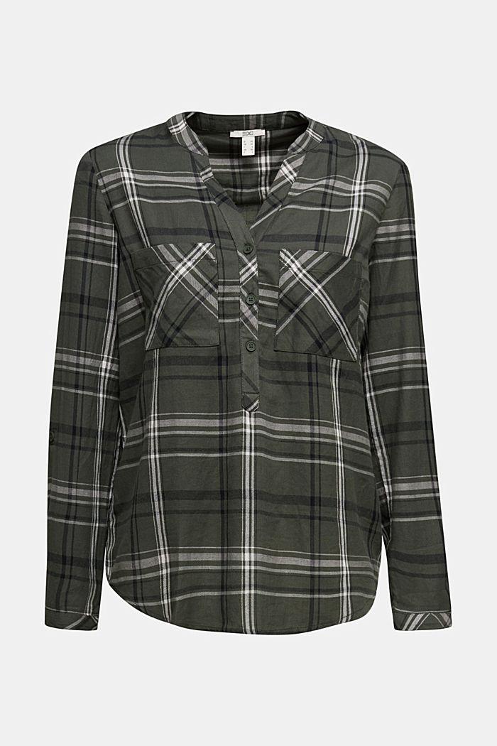Check blouse made of 100% organic cotton, LIGHT KHAKI, detail image number 7