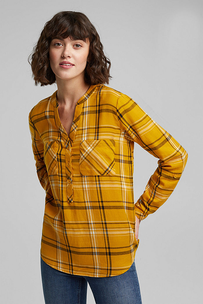 Check blouse made of 100% organic cotton, BRASS YELLOW, detail image number 0