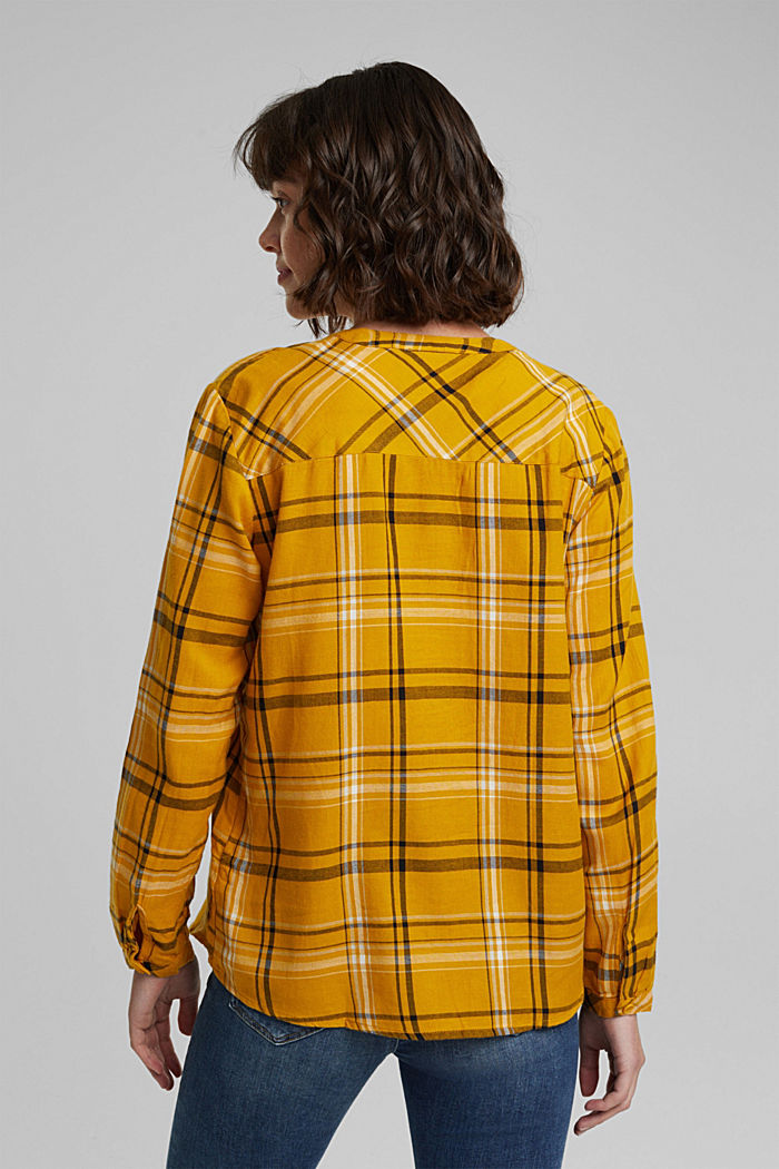 Check blouse made of 100% organic cotton, BRASS YELLOW, detail image number 3