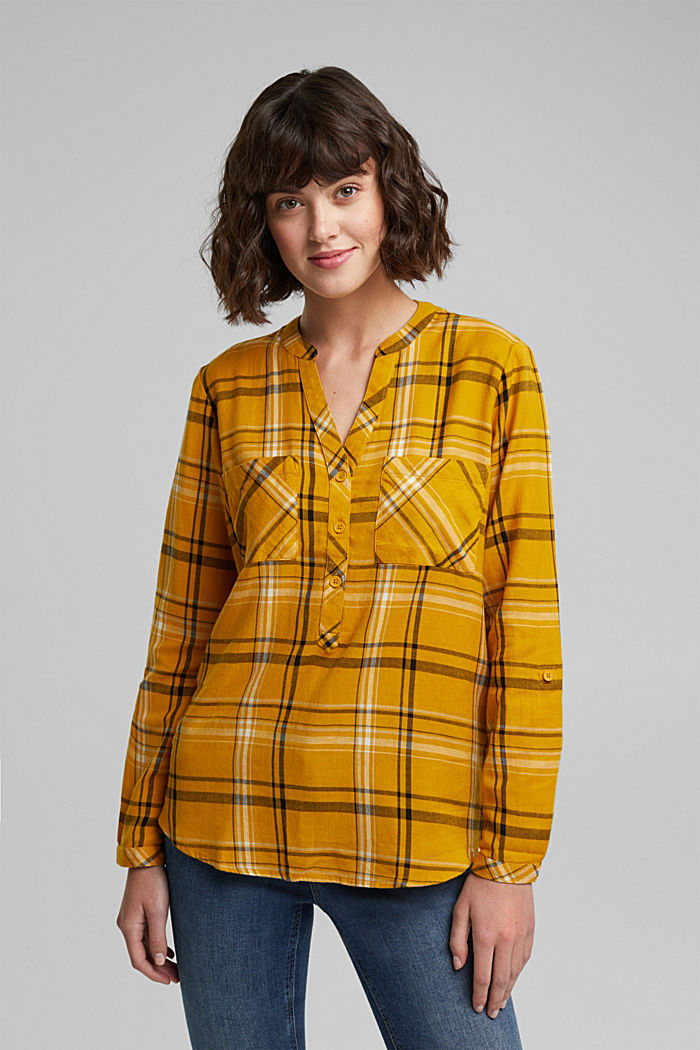 Check blouse made of 100% organic cotton, BRASS YELLOW, detail image number 5