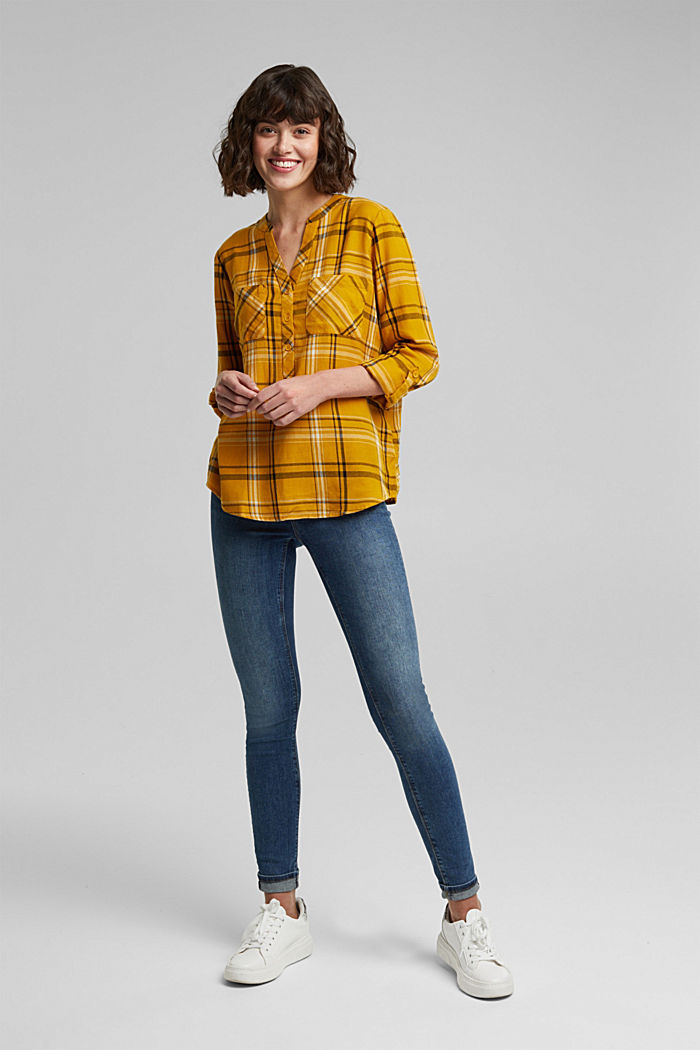 Check blouse made of 100% organic cotton, BRASS YELLOW, detail image number 1
