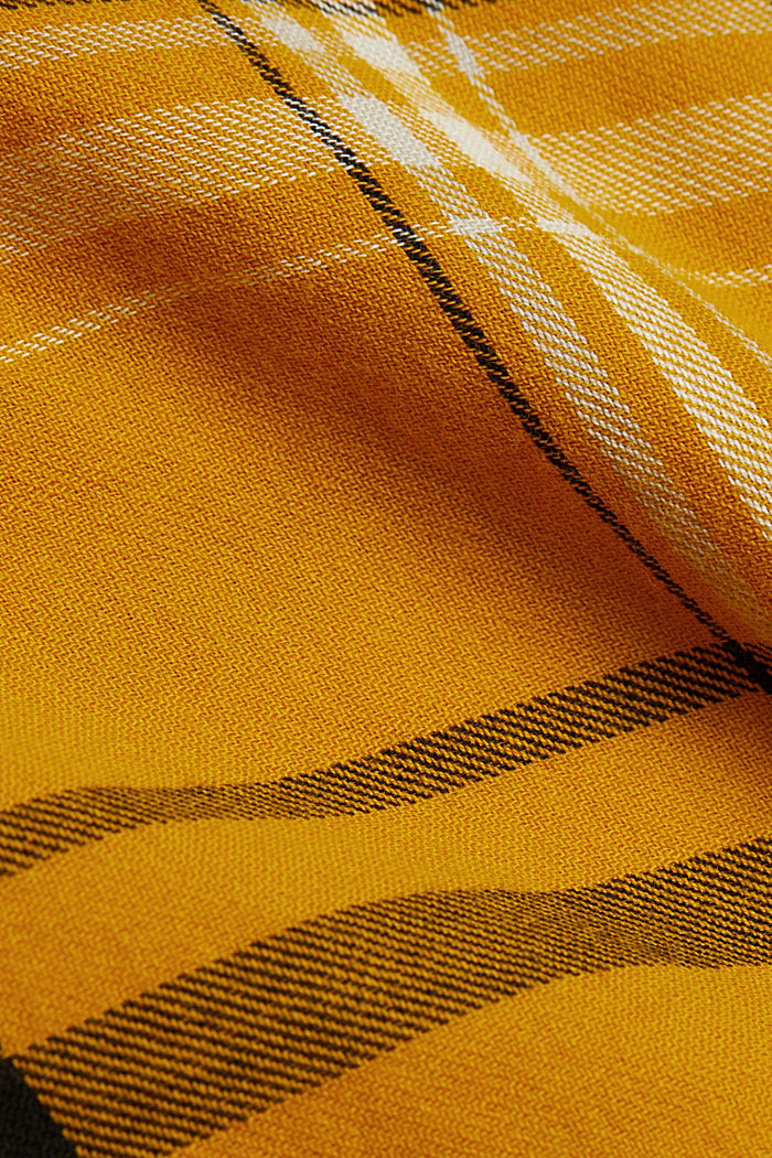 Check blouse made of 100% organic cotton, BRASS YELLOW, detail image number 4