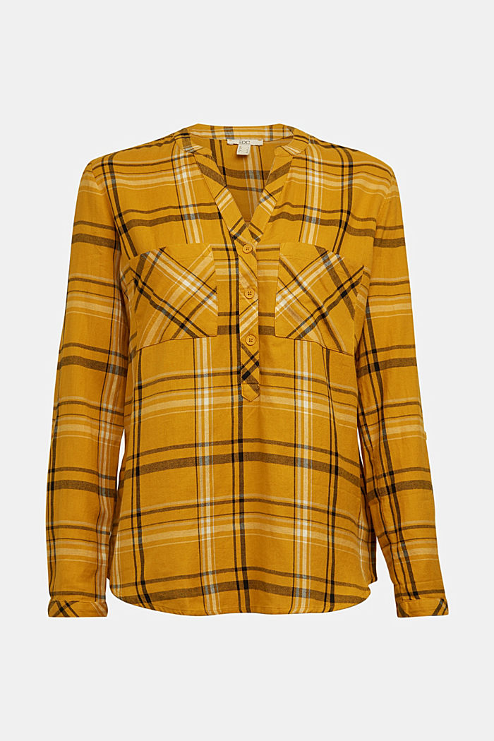 Check blouse made of 100% organic cotton, BRASS YELLOW, detail image number 6