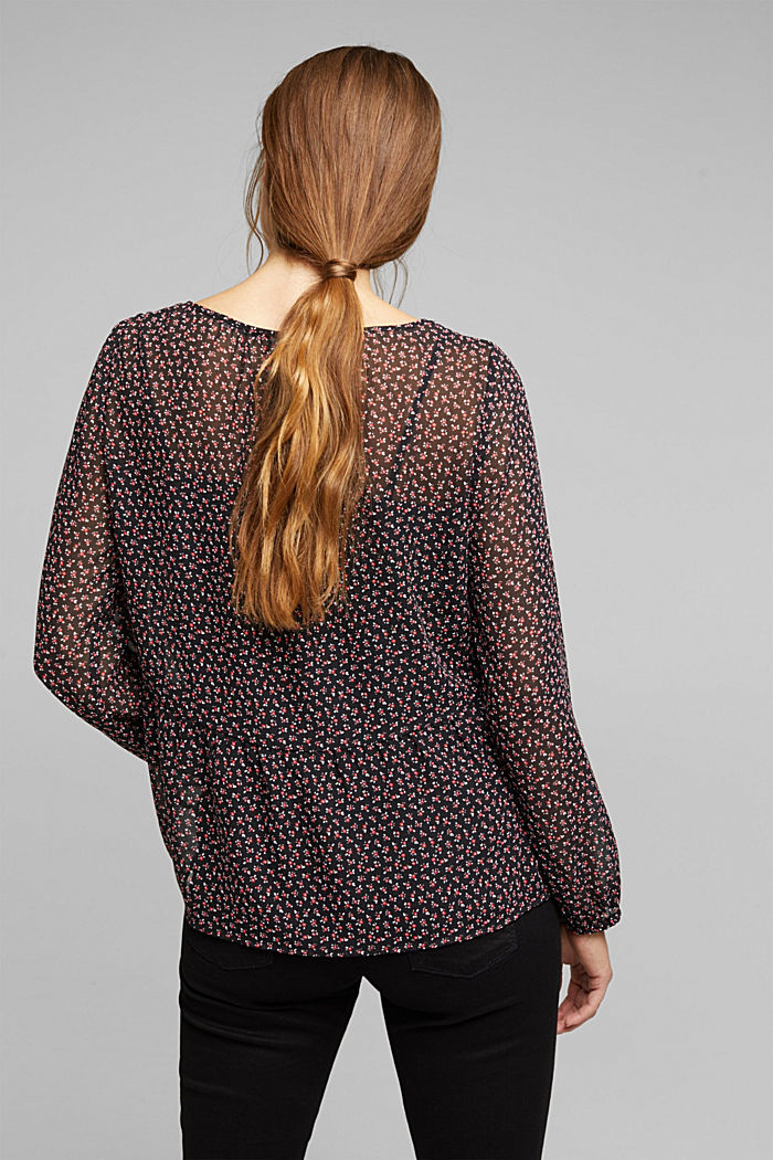Recycled: print blouse with flounces, BLACK, detail image number 3