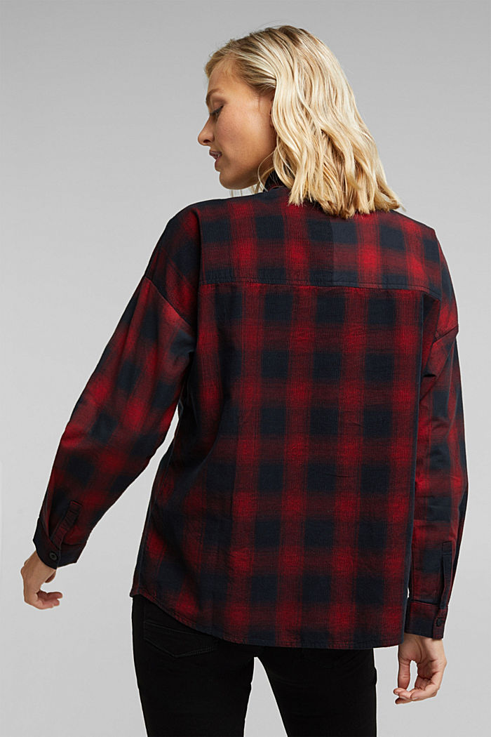 Checked corduroy blouse made of 100% organic cotton, BLACK, detail image number 3