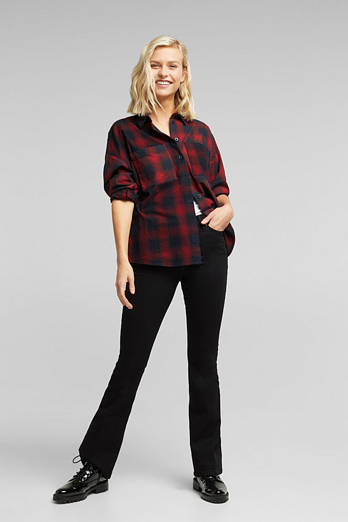 Checked corduroy blouse made of 100% organic cotton, BLACK, detail image number 1