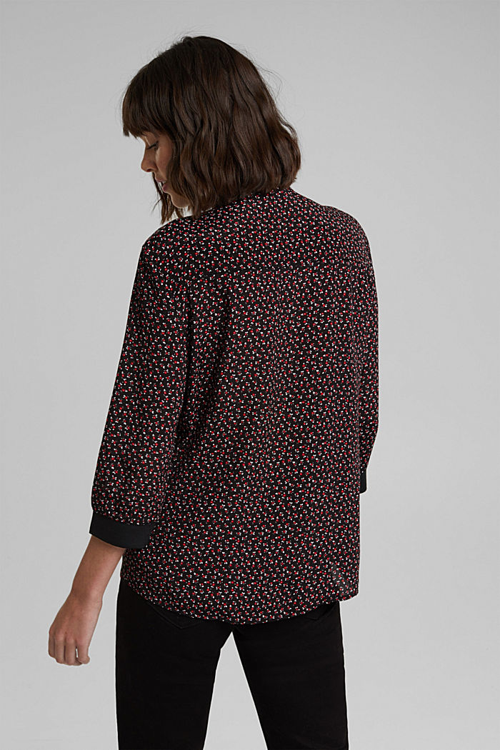 Print blouse with LENZING™ ECOVERO™, NEW BLACK, detail image number 3