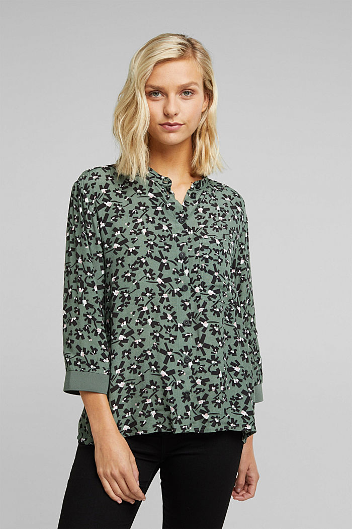 Print blouse with LENZING™ ECOVERO™, LIGHT KHAKI, overview