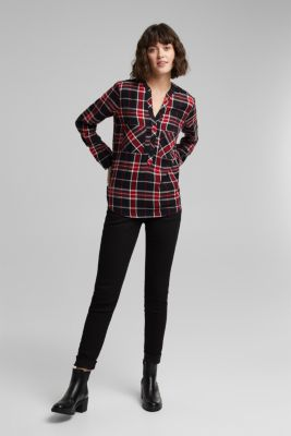 Check blouse made of 100% organic cotton, BLACK 2, detail
