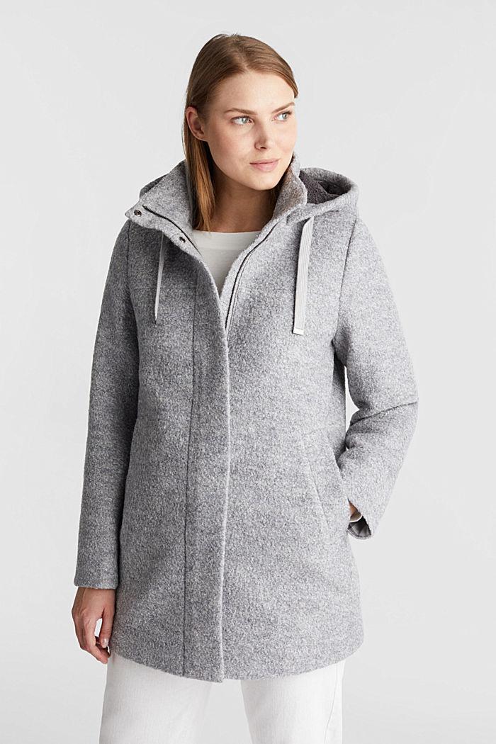 Hooded coat made of blended wool, LIGHT GREY, detail image number 0