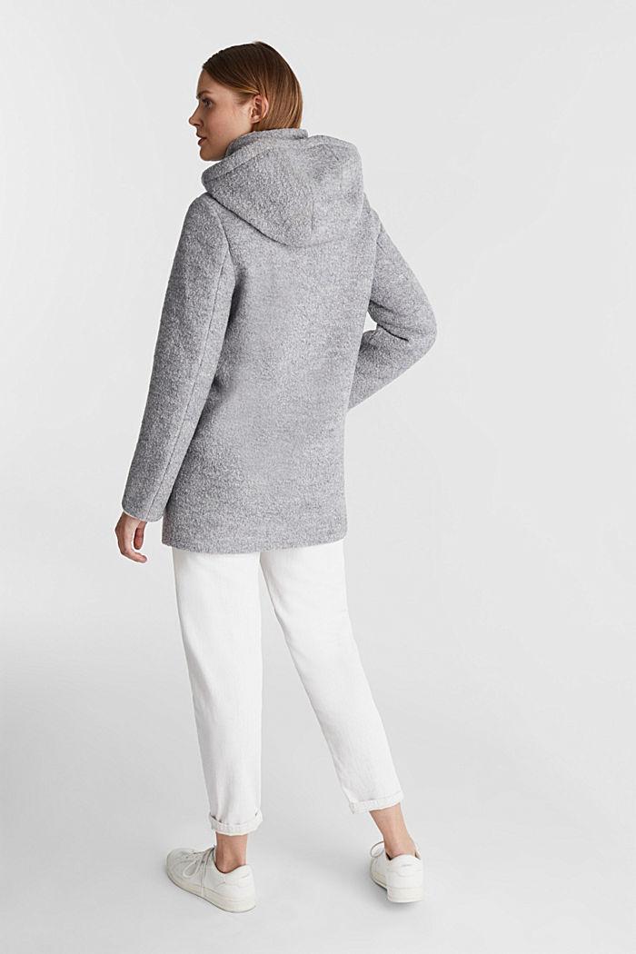 Hooded coat made of blended wool, LIGHT GREY, detail image number 3