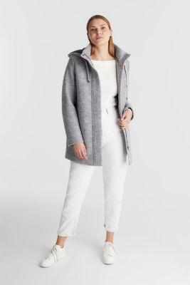 Hooded coat made of blended wool, LIGHT GREY 5, detail
