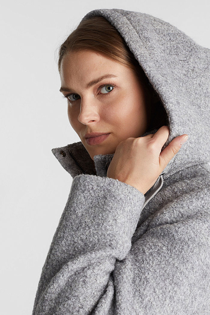 Hooded coat made of blended wool, LIGHT GREY, detail image number 5