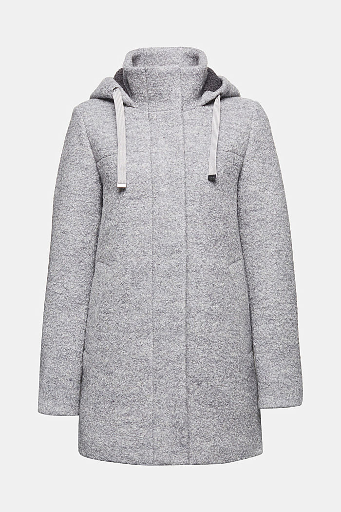 Hooded coat made of blended wool