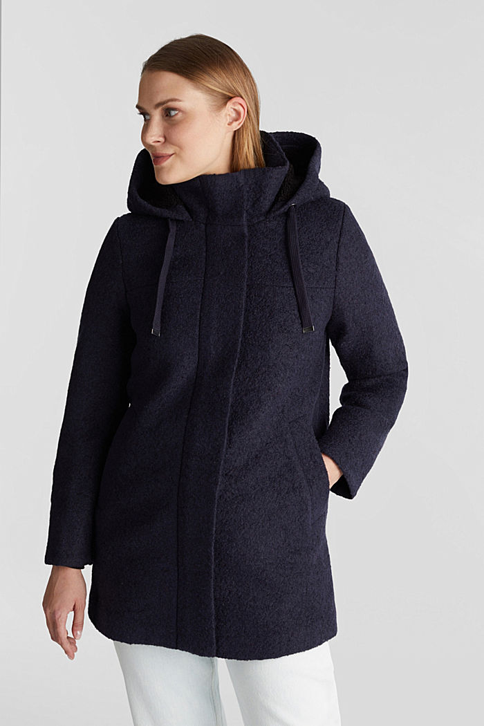 Hooded coat made of blended wool, NAVY, detail image number 0