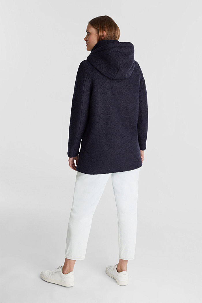 Hooded coat made of blended wool, NAVY, detail image number 2