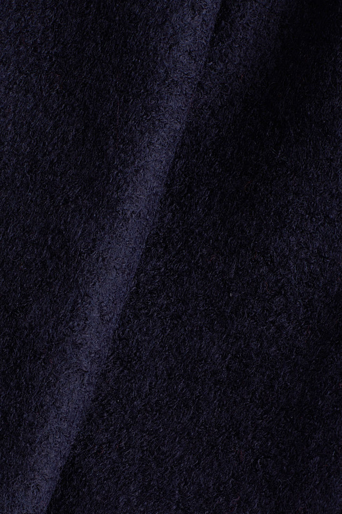 Hooded coat made of blended wool, NAVY, detail image number 3