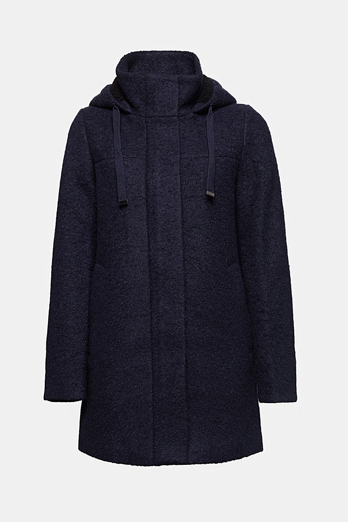Hooded coat made of blended wool, NAVY, detail image number 5
