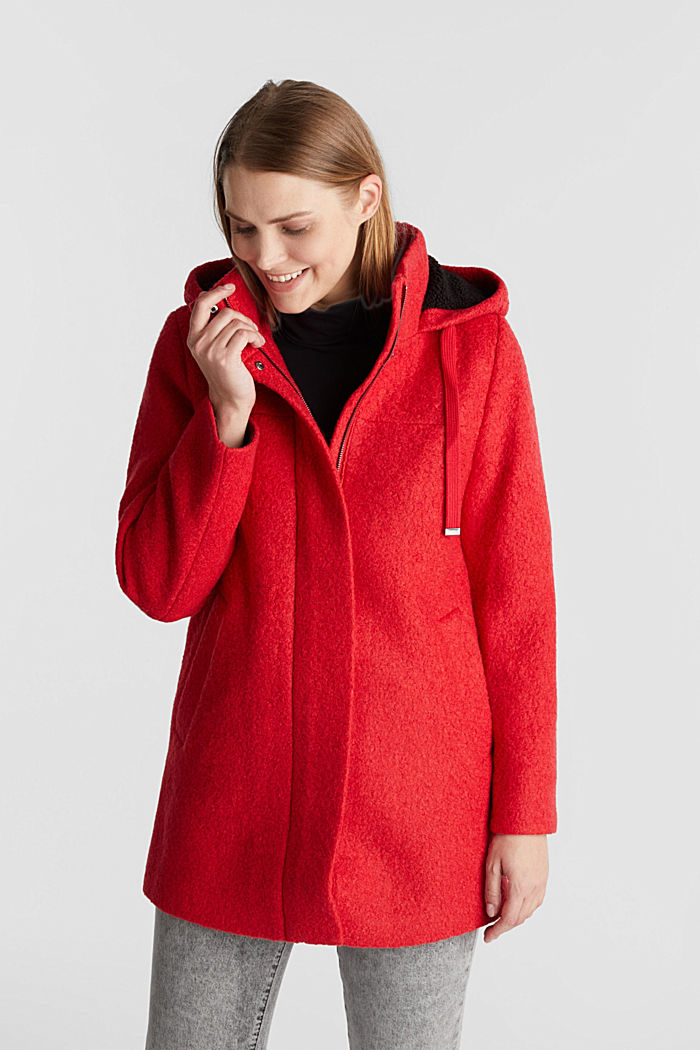 Hooded coat made of blended wool, RED, detail image number 0