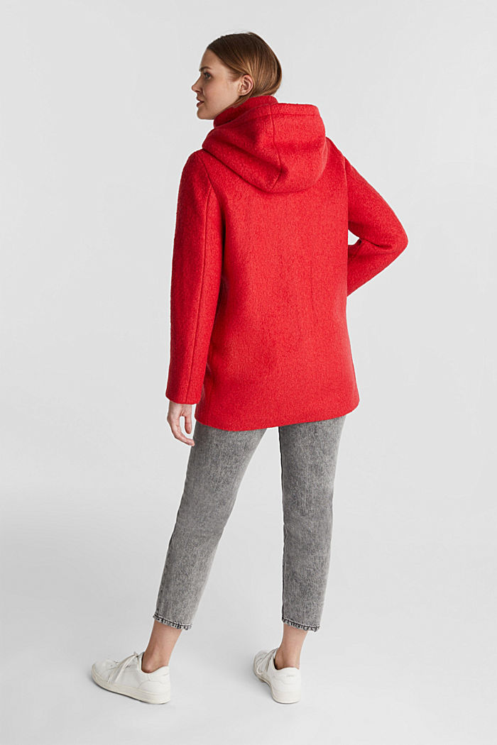 Hooded coat made of blended wool, RED, detail image number 3