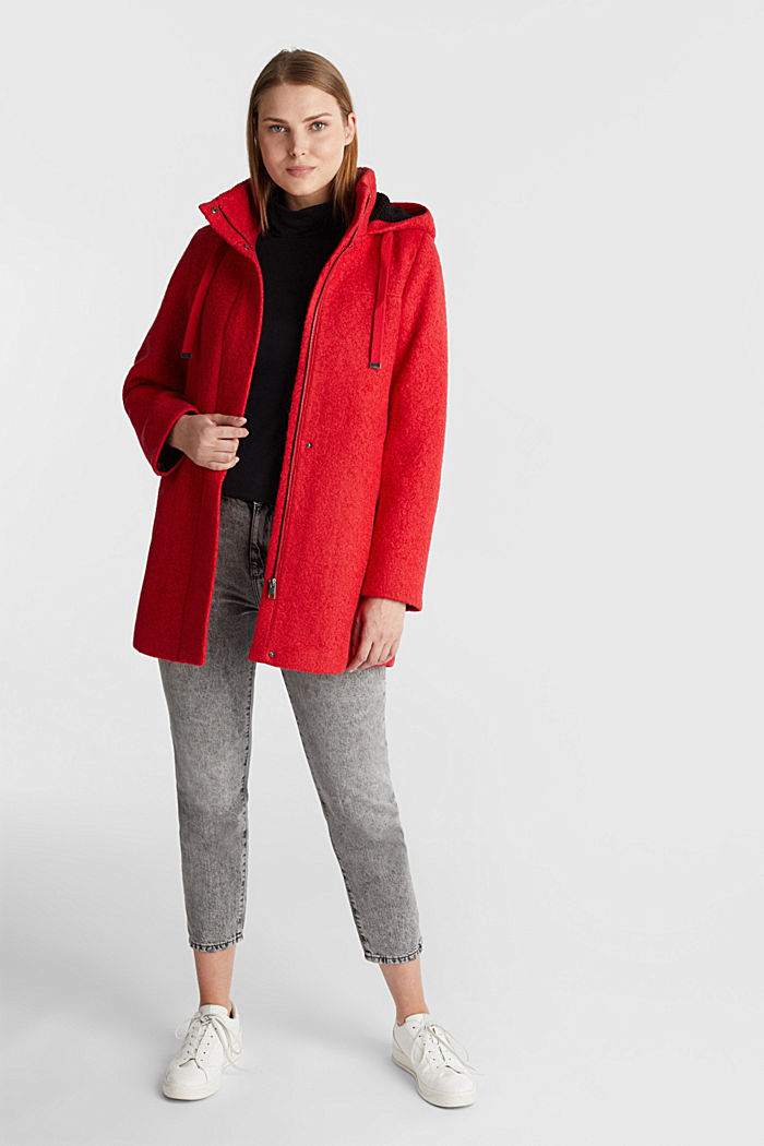 Hooded coat made of blended wool, RED, detail image number 1