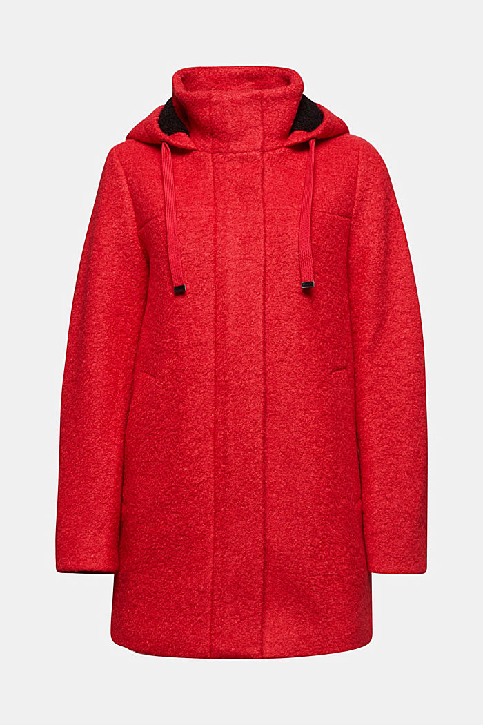 Hooded coat made of blended wool, RED, detail image number 6