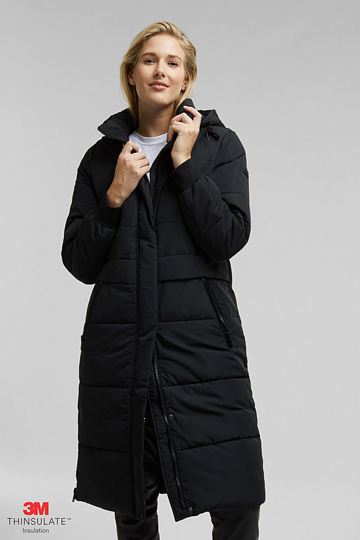 Recycled: padded quilted coat with hood, BLACK, detail image number 0