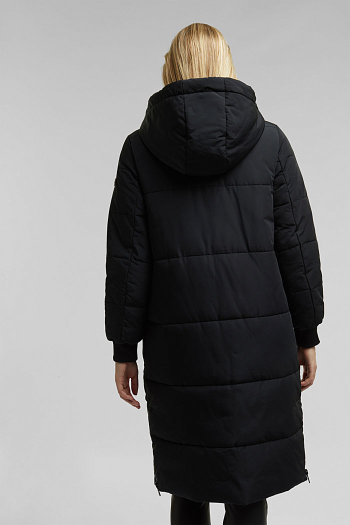 Recycled: padded quilted coat with hood, BLACK, detail image number 3