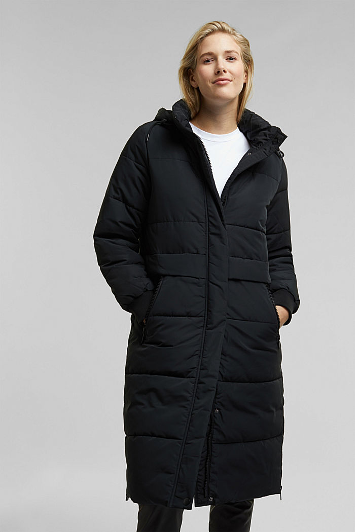 Recycled: padded quilted coat with hood, BLACK, detail image number 6
