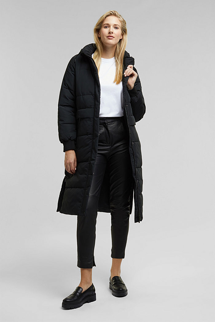 Recycled: padded quilted coat with hood, BLACK, detail image number 1