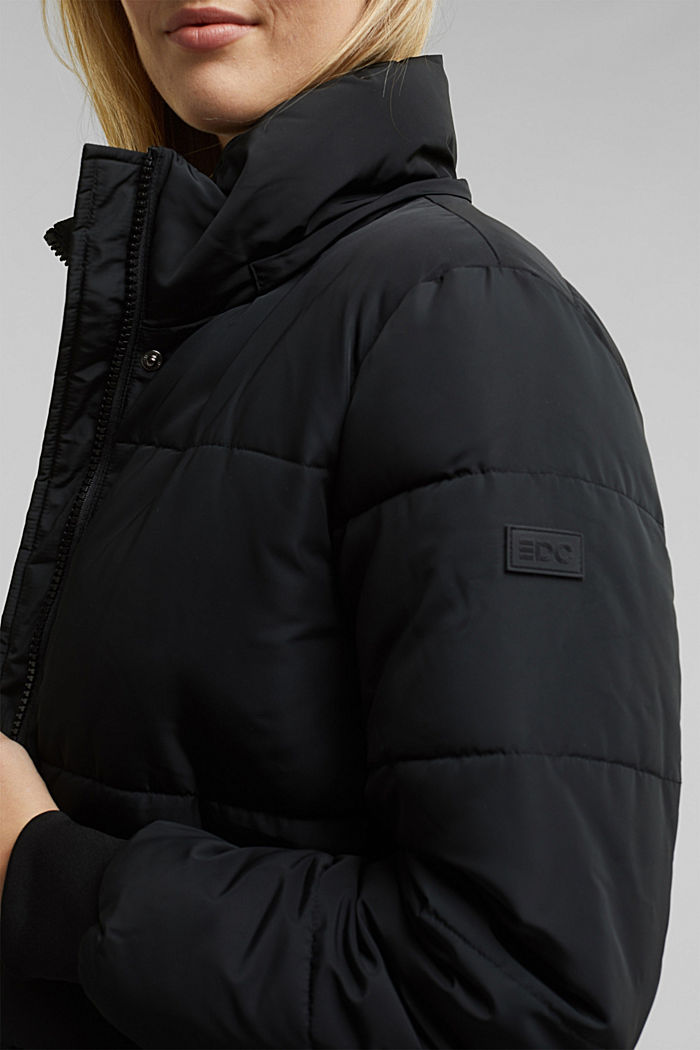 Recycled: padded quilted coat with hood, BLACK, detail image number 2