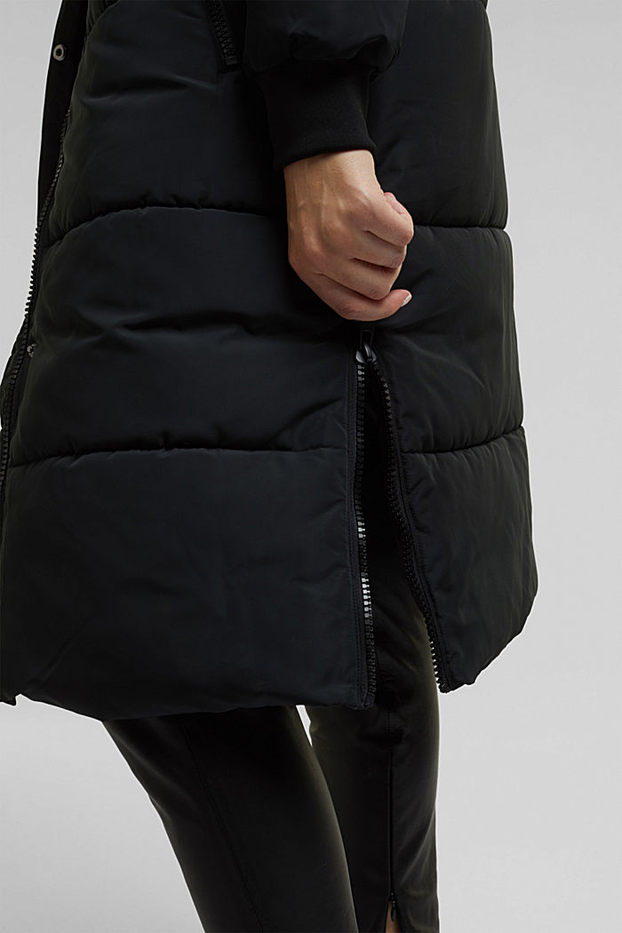 Recycled: padded quilted coat with hood, BLACK, detail image number 5