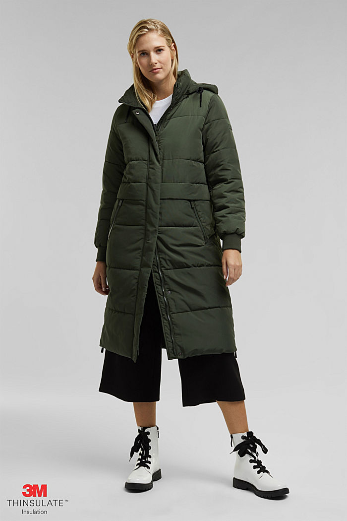 Recycled: padded quilted coat with hood, KHAKI GREEN, detail image number 0