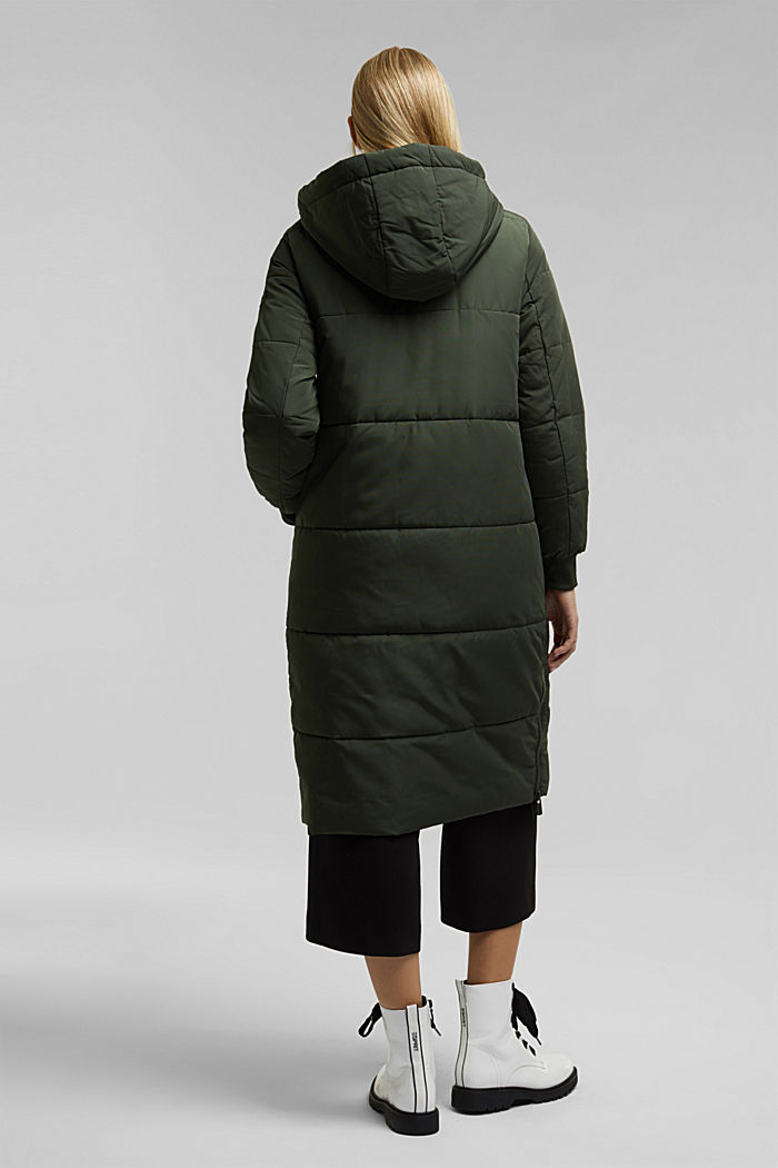 Recycled: padded quilted coat with hood, KHAKI GREEN, detail image number 3