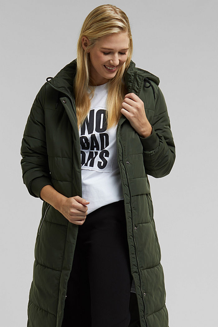 Recycled: padded quilted coat with hood, KHAKI GREEN, detail image number 6