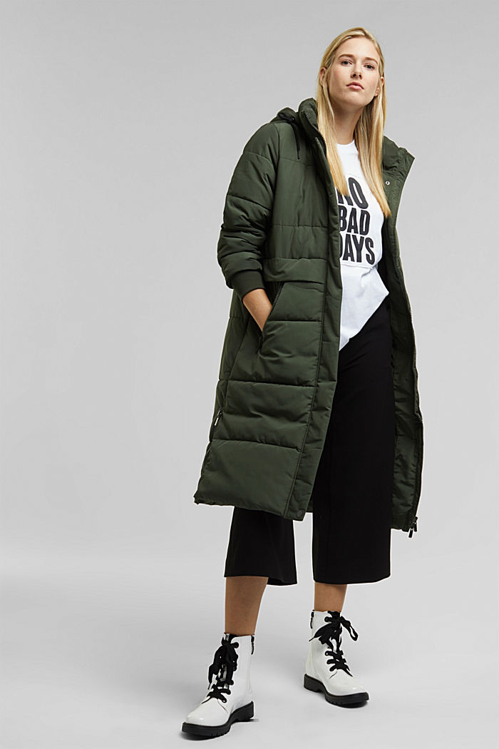 Recycled: padded quilted coat with hood, KHAKI GREEN, detail image number 1