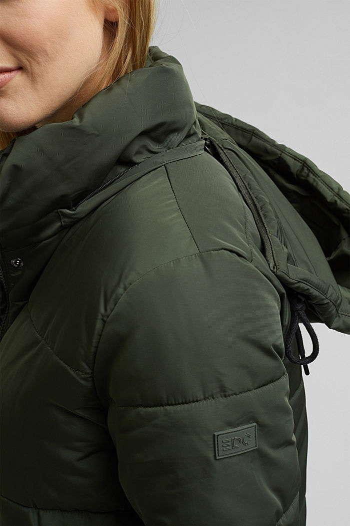 Recycled: padded quilted coat with hood, KHAKI GREEN, detail image number 2