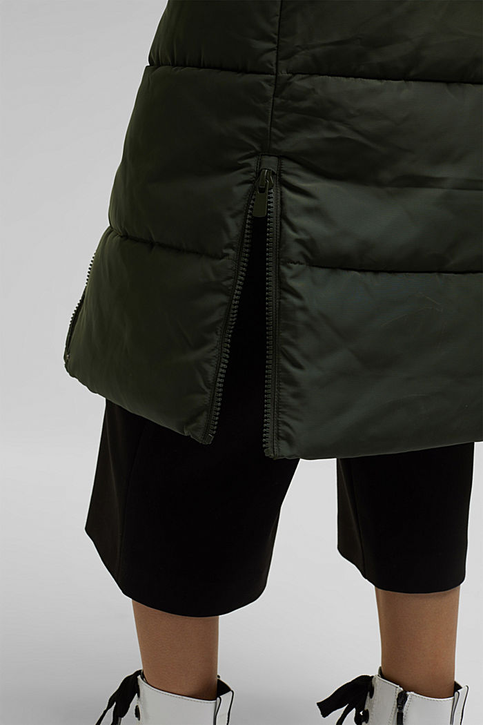Recycled: padded quilted coat with hood, KHAKI GREEN, detail image number 5