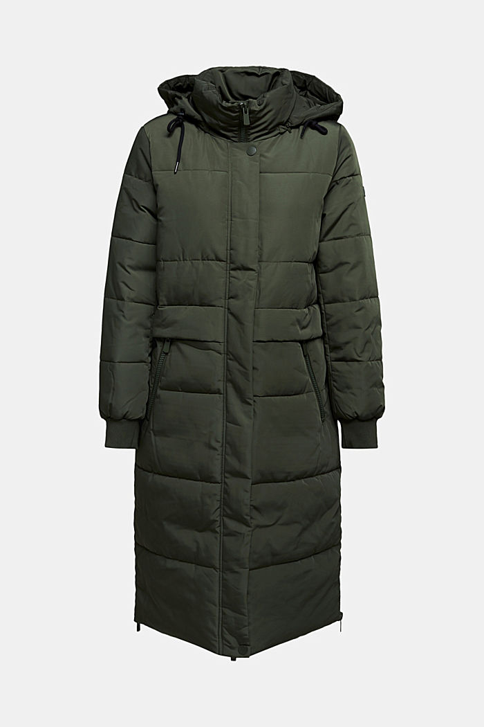 Recycled: padded quilted coat with hood, KHAKI GREEN, detail image number 7
