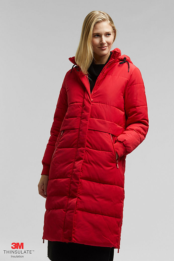 Recycled: padded quilted coat with hood, RED, detail image number 0