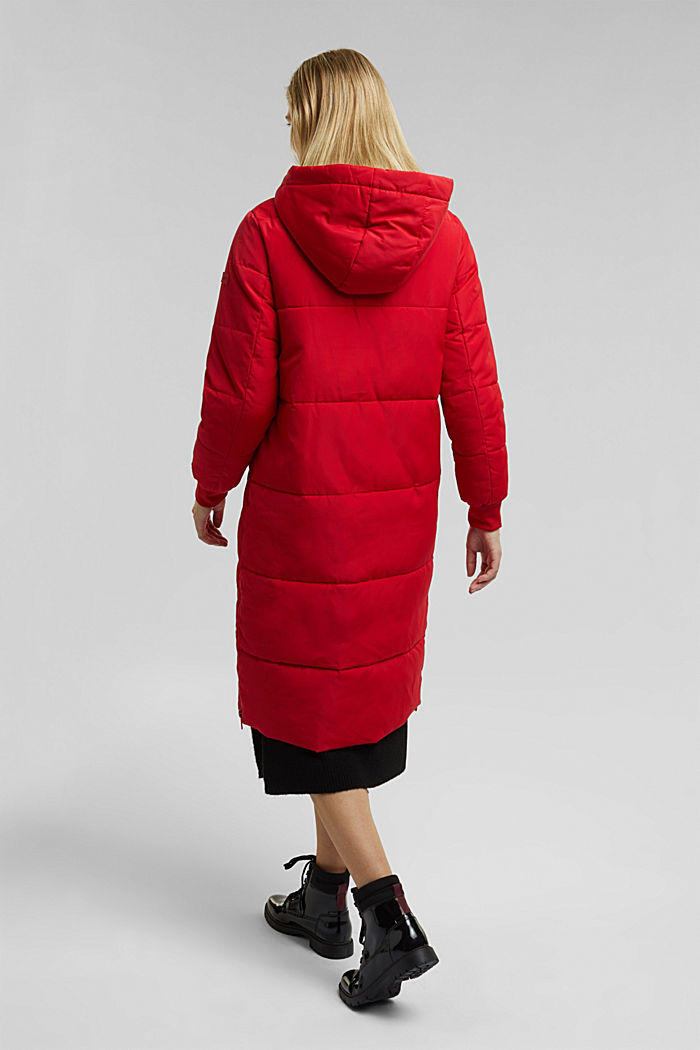 Recycled: padded quilted coat with hood, RED, detail image number 3