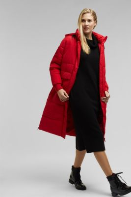 Recycled: padded quilted coat with hood, RED, detail