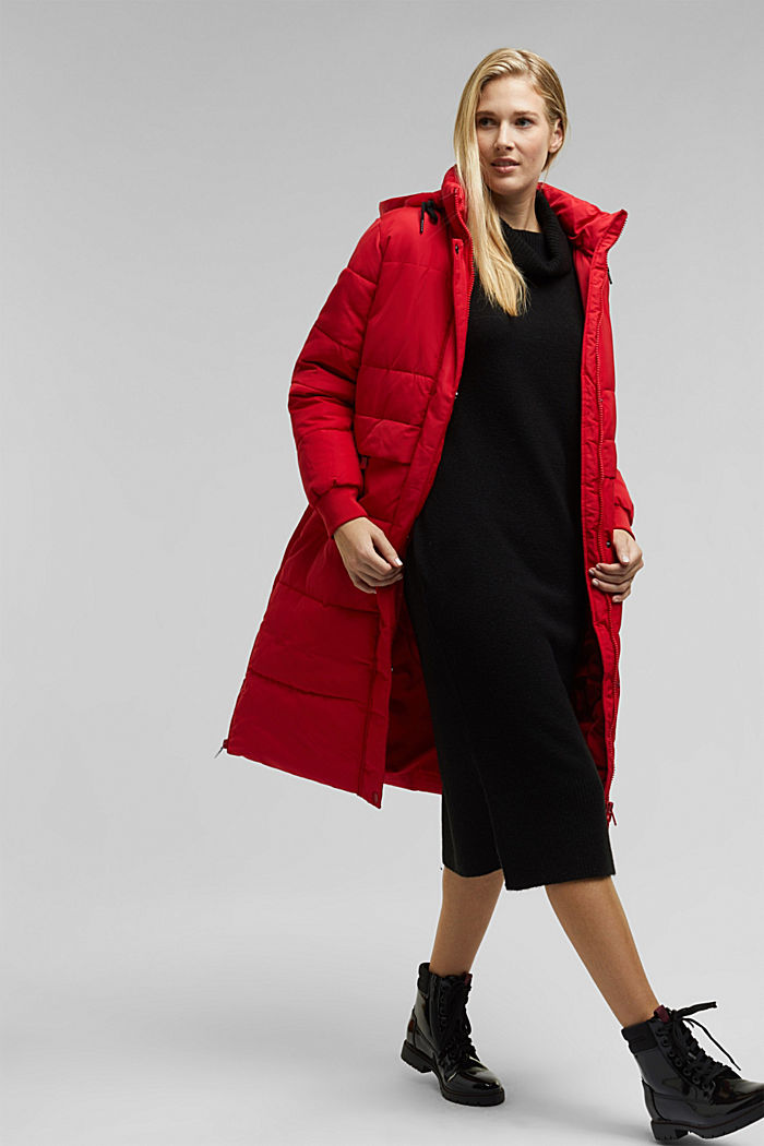 Recycled: padded quilted coat with hood, RED, detail image number 1