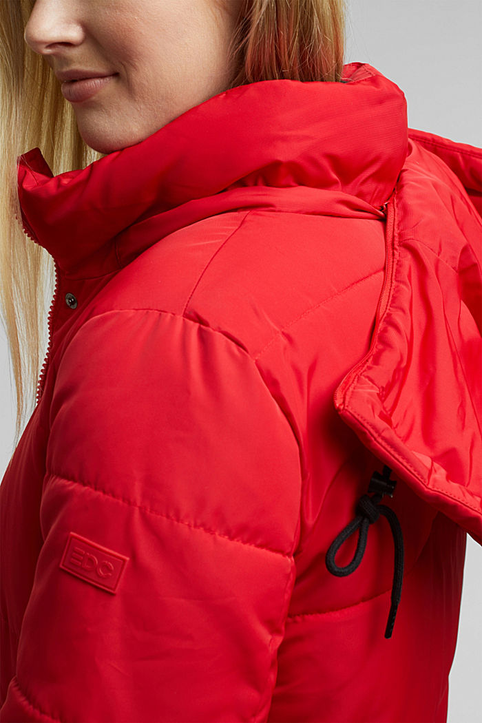 Recycled: padded quilted coat with hood, RED, detail image number 2